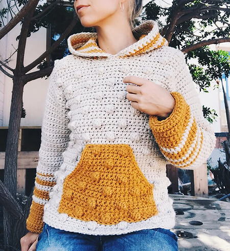 Trendy Bobble Crochet Hooded Sweater By CapitanaUncino