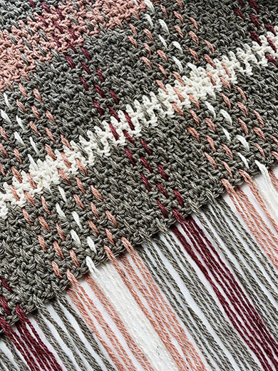 Weaving Details of Crochet Plaid Scarf By TwoofWandsShop