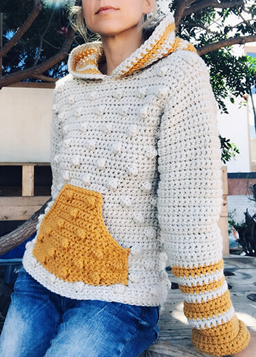 Yellow and White Crochet Hooded Sweater By CapitanaUncino