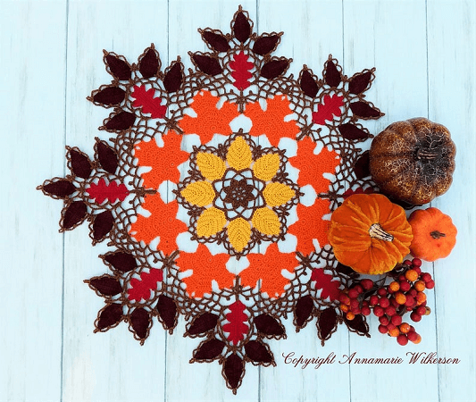 Autumn Leaves And Lace Doily Crochet Pattern by Cat Lady Crochet Shoppe
