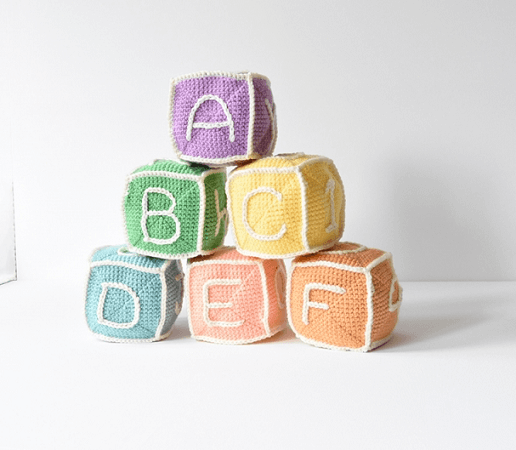Baby Blocks Toy Crochet Pattern by Flying Dutchman Crochet Design