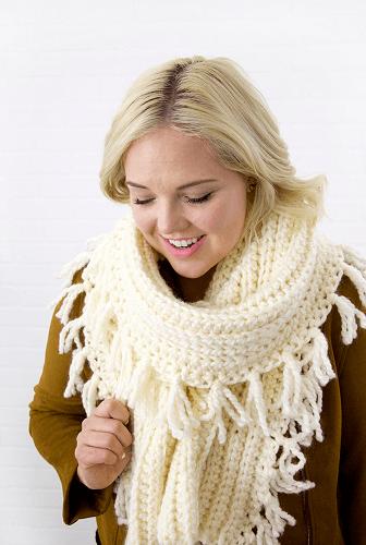 Chunky Tassel Free Crochet Winter Scarf Pattern by Persia Lou