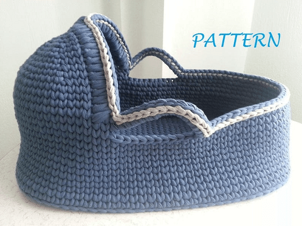 Crochet Baby Basket Pattern by Made With Care By Ainur