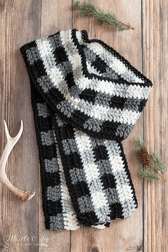 Buffalo Plaid Winter Scarf Crochet Pattern by Whistle And Ivy