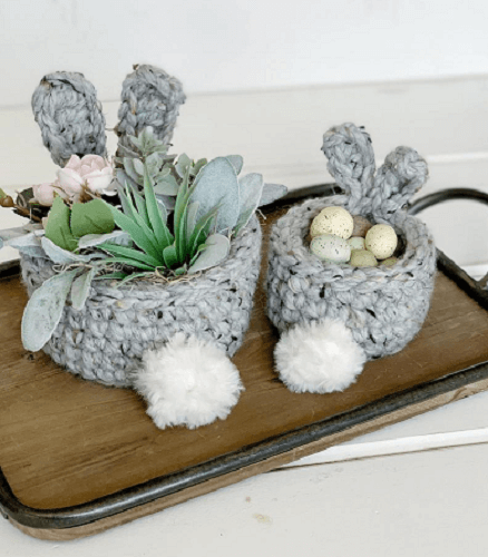 Crochet Bunny Basket Pattern by Simply Made By Erin