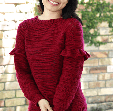 Crochet Christmas Ruffle Sweater Pattern by For The Frills