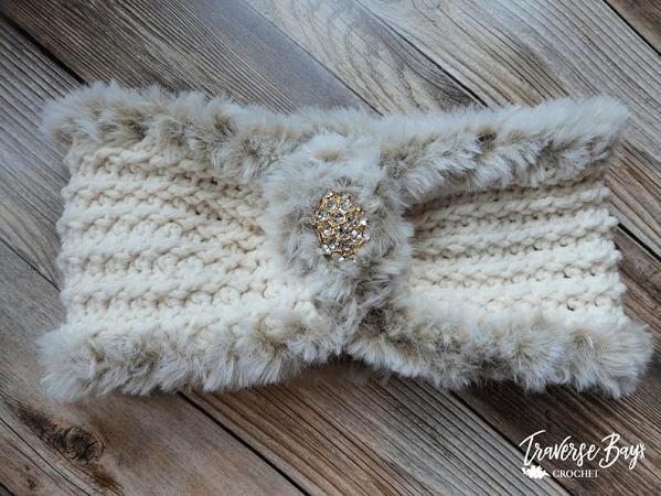 Crochet Elegant Faux Fur Headband Pattern by Traverse Bay Crochet