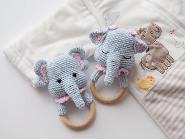 Crochet Elephant Rattle Pattern by R Nata