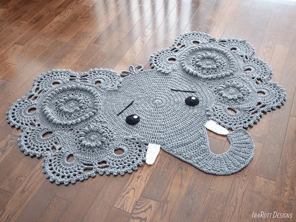 Crochet Elephant Rug Pattern by Ira Rott Patterns