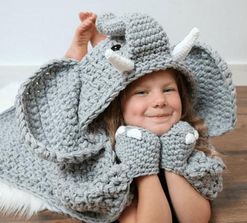 Crochet Hooded Elephant Blanket Pattern by MJs Off The Hook Designs