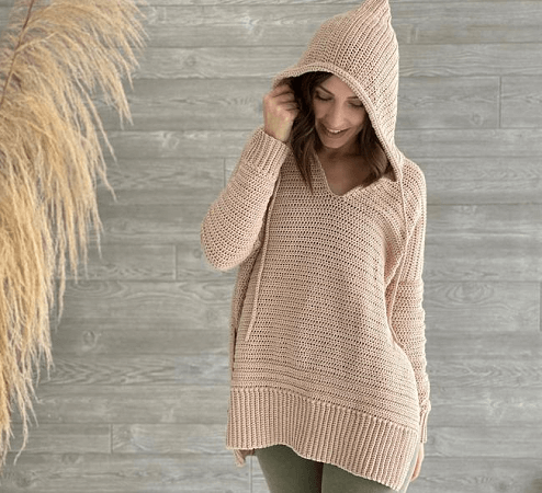 Crochet Hoodie Sweater Pattern by Evelyn And Peter