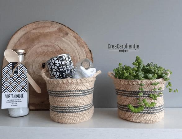 Crochet Jute Basket Pattern by Crea Carolientje