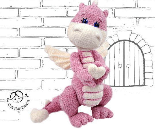 Crochet Little Dragon Pattern by Doll Patterns Shop