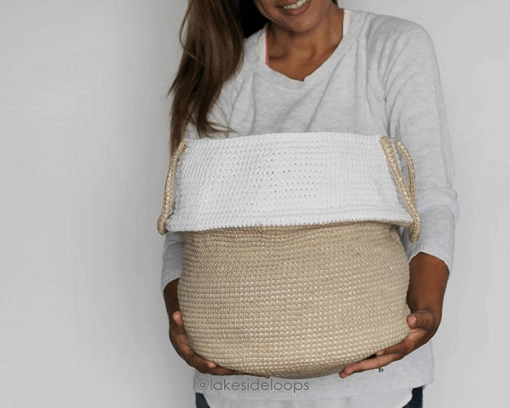Monroe Belly Crochet Basket Pattern by Lakeside Loops