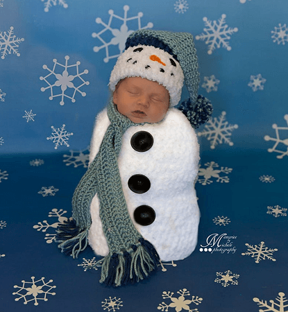 Crochet Newborn Snowman Photo Prop Pattern by AMK Crochet
