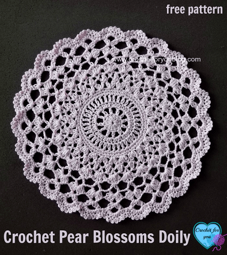 Crochet Pear Blossoms Doily Pattern by Crochet For You