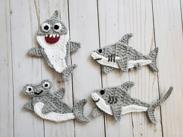 Crochet Shark Appliques Pattern by the Yarn Conspiracy