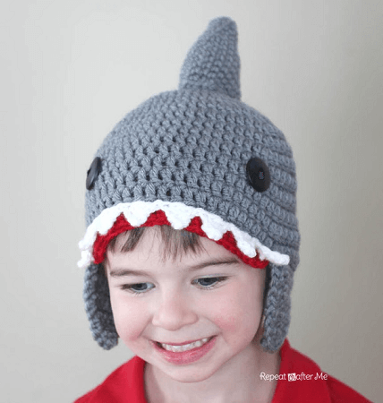 Crochet Shark Hat Pattern by Repeat Crafter Me