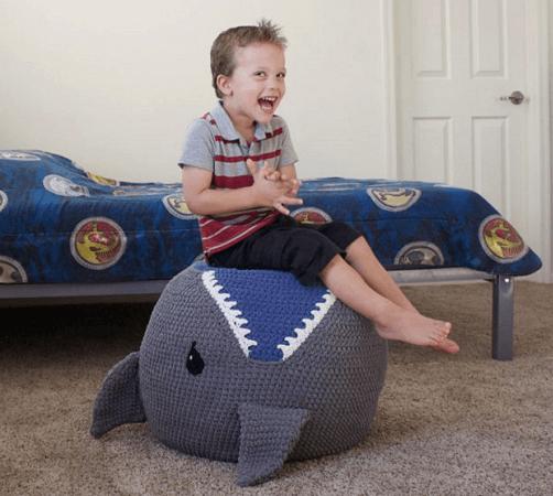 Crochet Shark Pouf Pattern by Bri Abby HMA
