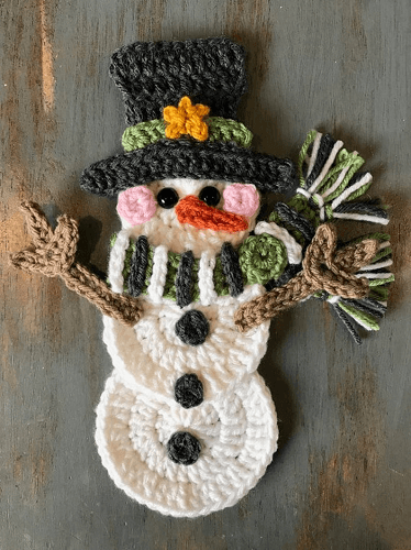 Applique Crochet Snowman Pattern by Nella's Cottage
