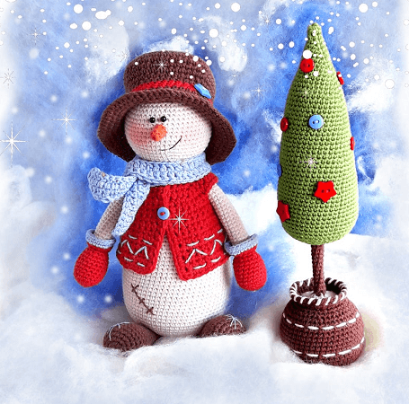 Crochet Snowman With Christmas Tree Pattern by Knit A Miracle