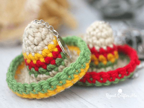 Crochet Sombrero Keychain Pattern by Repeat Crafter Me