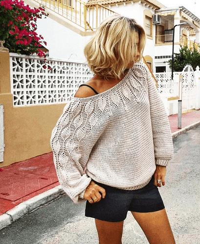 Crochet Sweater Leaves Pattern by Knitwear By Palmiotto