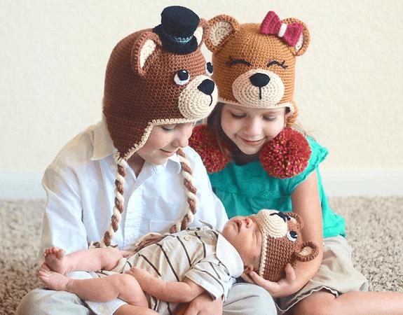 Crochet Teddy Bear Hat Pattern by Bri Abby HMA