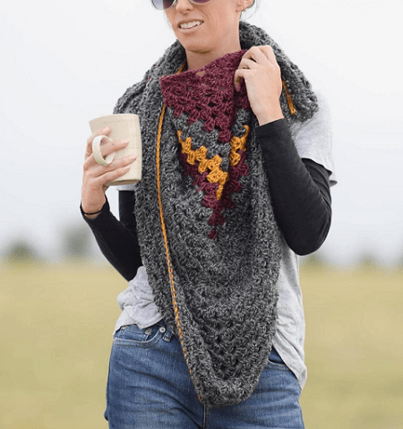 Crochet Triangle Winter Scarf Pattern by Mama In A Stitch