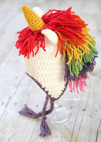 Crochet Unicorn Hat Pattern by Repeat Crafter Me