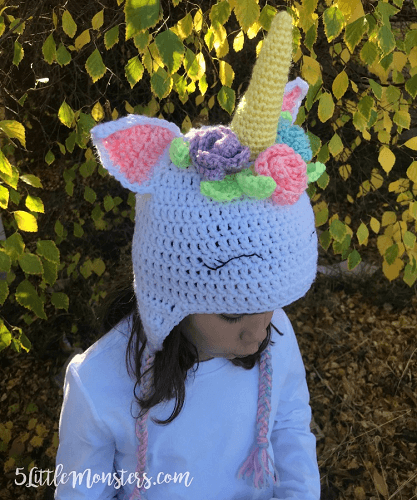 Crochet Unicorn Hat With Flowers Pattern by 5 Little Monsters