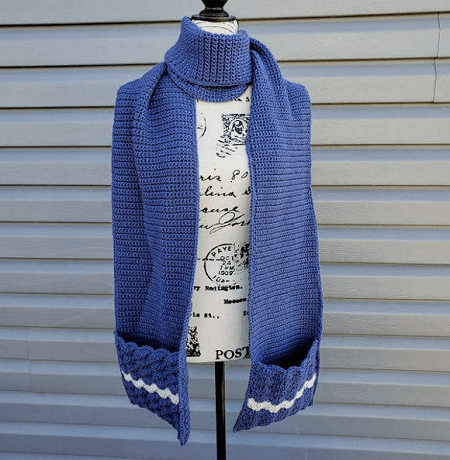 Crochet Wavy Shells Pocket Scarf Pattern by Highland Hickory Dsgns