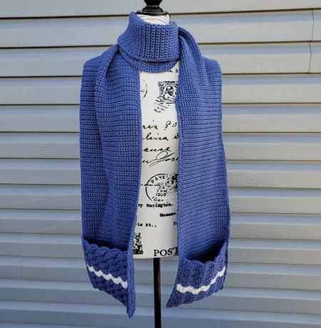 Wavy Shells Pocket Winter Scarf Crochet Pattern by Highland Hickory Dsgns