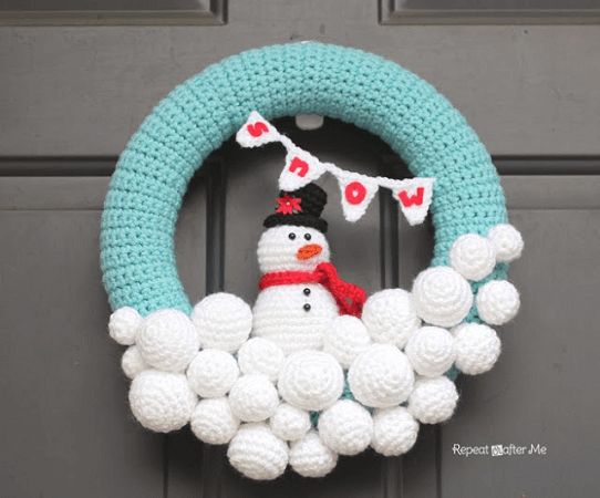 Crochet Snowman with Snowballs Wreath Pattern by Repeat Crafter Me