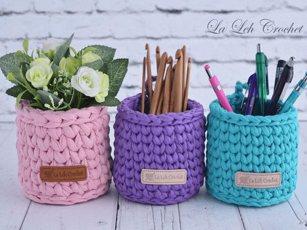 Cute Crochet Basket Pattern by La Leh Crochet