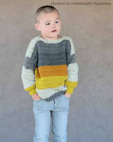 Everykid Crochet Sweater Pattern by Hooked On Homemade Happiness