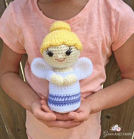 Free Crochet Mini Angel Pattern by Grace And Yarn