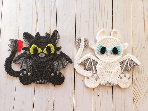 Lovable Dragons Applique Crochet Pattern by The Yarn Conspiracy