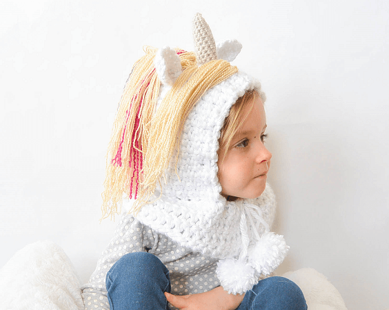 Magical Unicorn Crochet Hood Pattern by Mama In A Stitch