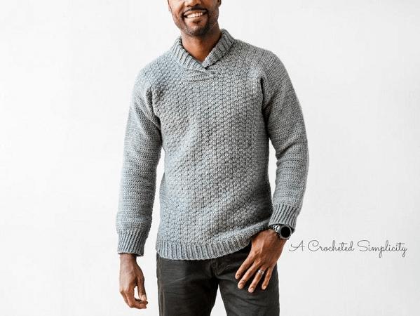 Men's Crochet Sweater Pattern by A Crocheted Simplicity