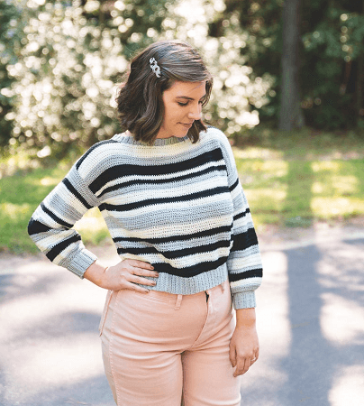 Monochrome Stripe Sweater Crochet Pattern by Sewrella