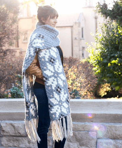 Nordic Crochet Winter Scarf Pattern by Make And Do Crew