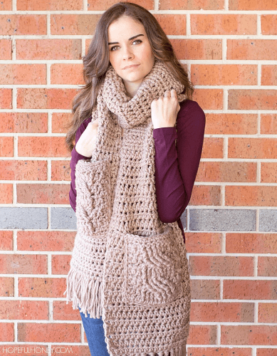 Oversized Scarf Crochet Pattern by Hopeful Honey