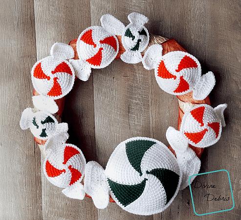 Peppermint Candy Wreath Crochet Pattern by Divine Debris