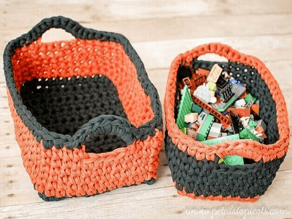 Rectangular Crochet Basket Pattern by Petals To Picots