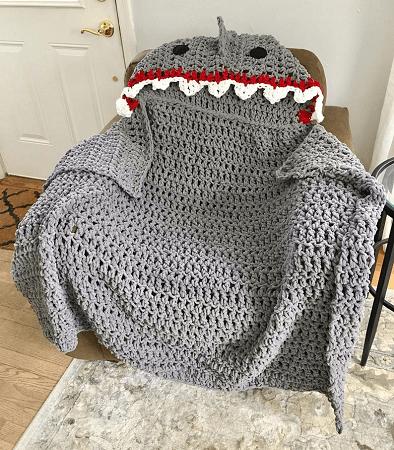 Shark Hooded Blanket Crochet Pattern by Crafty Kitty Crochet