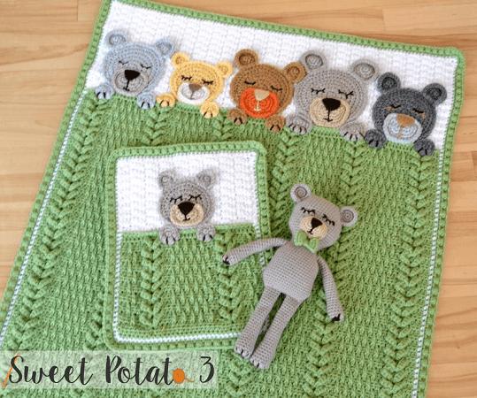 Sleep Tight Teddy Bear Blanket Crochet Pattern by Sweet Potato 3 Patterns