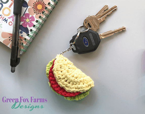 Taco Keychain Crochet Free Pattern by Green Fox Farms Designs