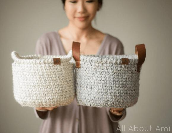 Waistcoat Crochet Basket Pattern by All About Ami