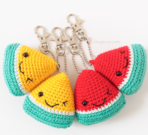 Watermelon Keychain Crochet Free Pattern by 1 Dog Woof